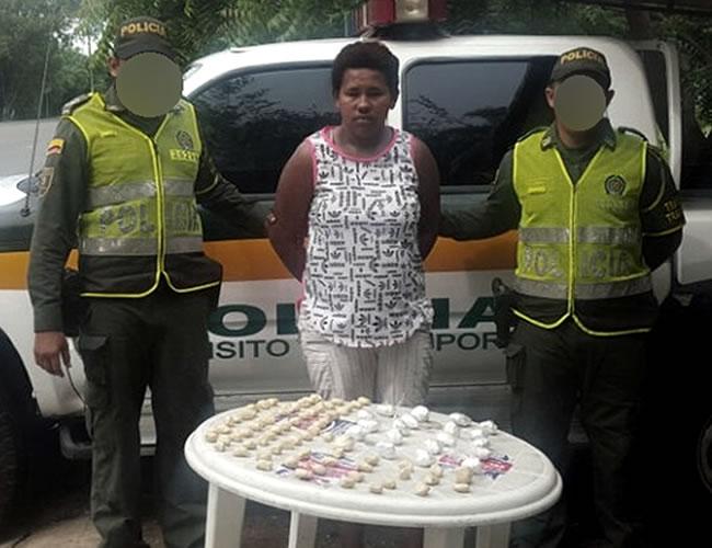 Marolys Ester Cabrera De la Hoz, conocida como 'La Mecato', fue detenida por el delito de porte de estupefacientes | Foto: Policía