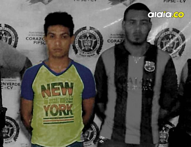 Freddy Junior Florez Hernández, de 23 años, alias 'Simpson'; y Brayan Gabriel Berdugo Cervantes, los dos capturados.