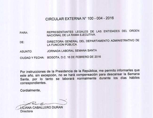 Este es el texto de circular emitida por el Departamento Administrativo de la Función Pública. | Foto: funcionpublica.gov.co