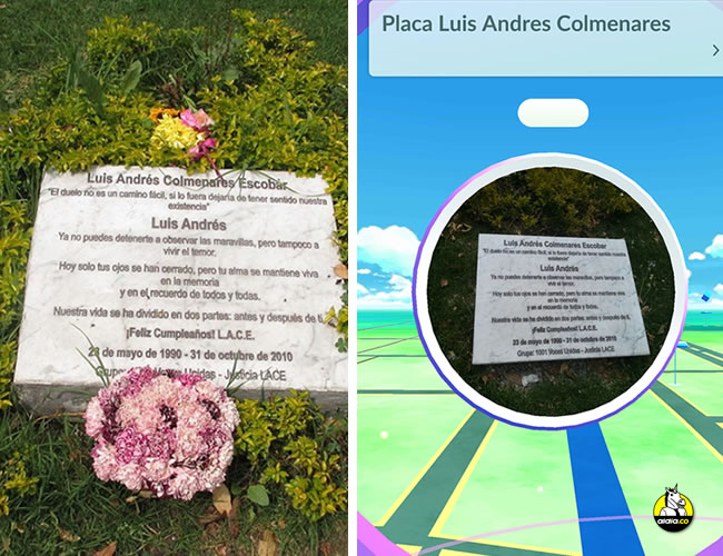Esta es la placa que homenajea a Luis Andrés Colmenares en el Parque El Virrey de Bogotá. | Foto: Pulzo