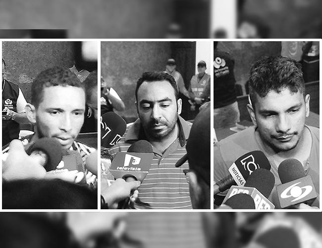 Miguel González Reales, Johan Beltrán Ullloque y Jesús Gutiérrez Arrieta y , confesos coautores del homicidio de Pinto. | Foto: Archivo