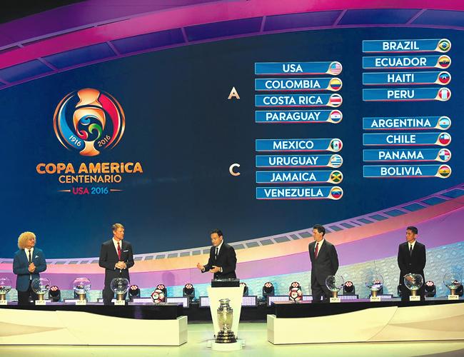Así quedaron ubicados los 16 equipos para disputar la fase de grupos de la Copa América Centenario que se jugará del 3 al 26 de junio en Estados Unidos. | Foto: Archivo