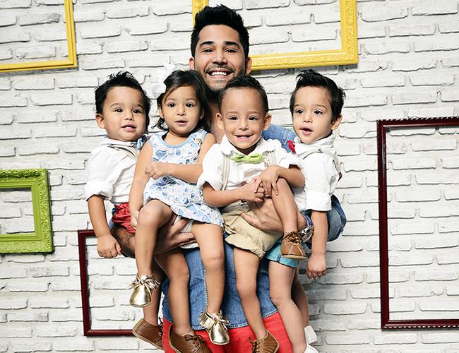 David Gutiérrez con sus hijos Gabriel, Julián Sebastián y Francesca. | Foto: Orlando Amador