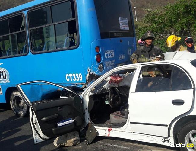 El accidente ocurrió en la tarde de ayer en el sector de Pozos Colorados, en sentido Ciénaga-Santa Marta. | Al Día