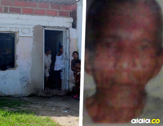 Rafael Ángel Oyola Velásquez (foto en vida en recuadro) fue asesinado frente a esta vivienda, dejó un hijo.