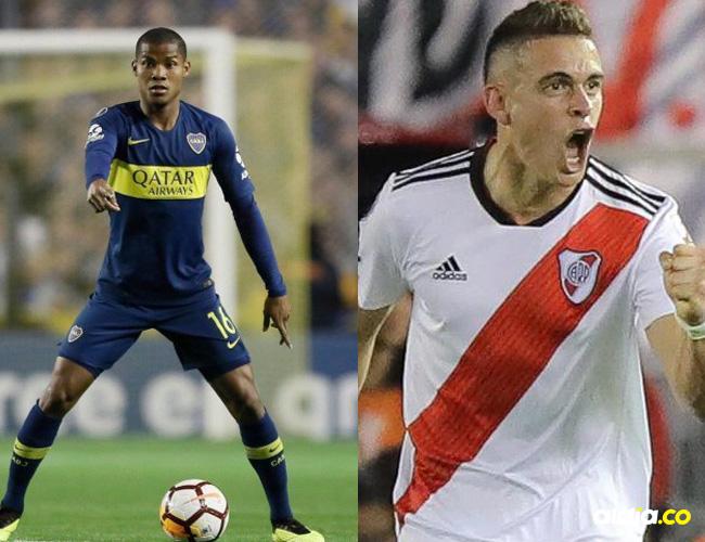 Wilmar Barrios, volante cartagenero de Boca Juniors y Rafael Santos Borré, delantero barranquillero de River Plate.