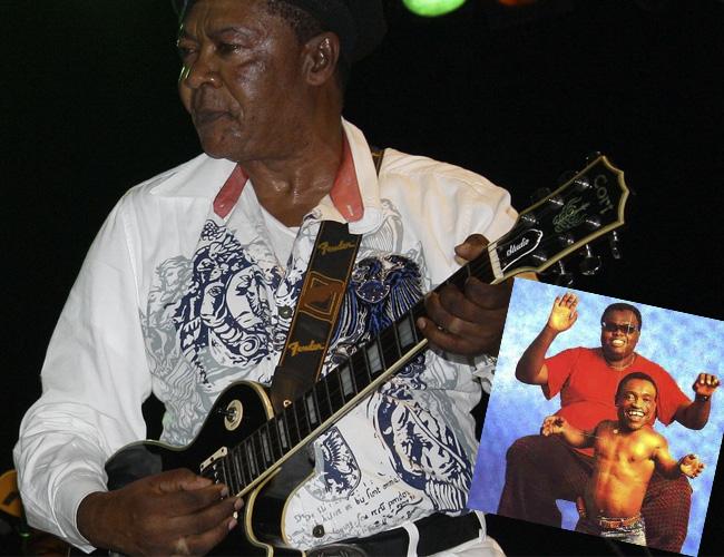 Lokassa Ya M'bongo y El cantante Pepe Kalle (arriba) junto al pequeño Emoro.