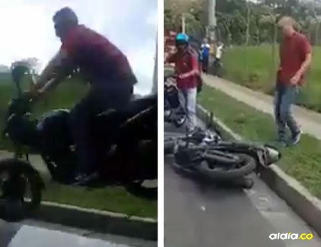 Cuando intentó arrancar nuevamente, un funcionario de la Policía lo estaba grabando  y el hombre lo empujó y siguió su camino | Captura de pantalla