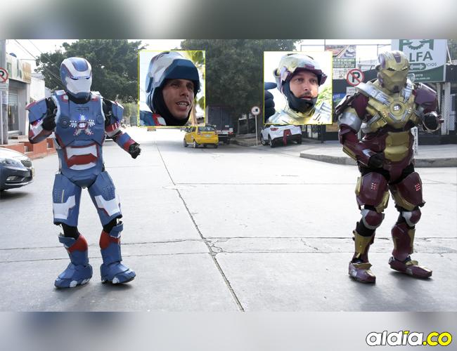 Roberson y Robinson Colina interpretan a los superhéroes Iron Man e Iron Patriot en Barranquilla.   AL DÍA