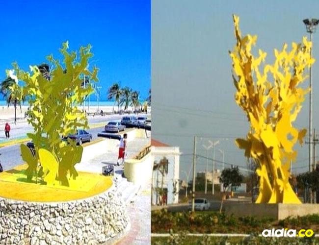 Las dos esculturas, la que está en Riohacha de Johana y la de Barranquilla de Henry.