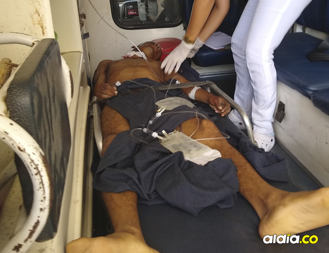 Medina fue llevado al puesto de salud de Orihueca y remitido en ambulancia a Ciénaga.