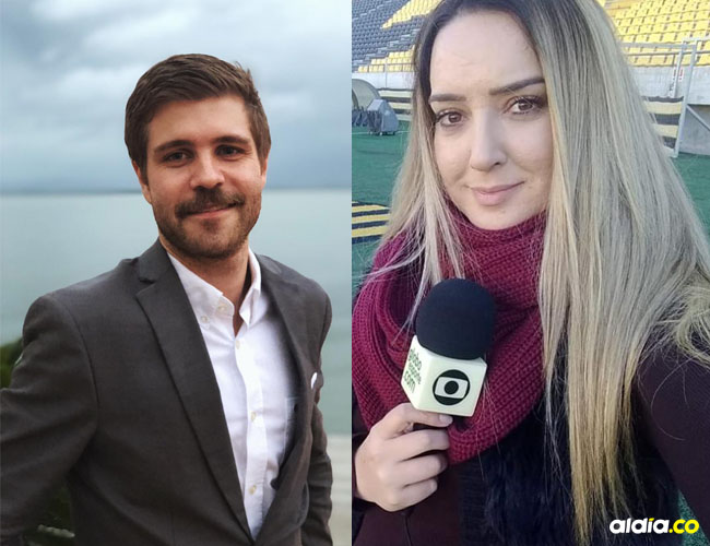 Eduardo Deconto y Monique Silva periodistas GloboEsporte.com.