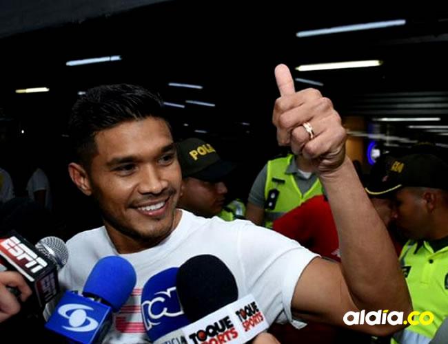 El delantero llegó a Barranquilla alrededor de las 3:40 de la tarde de este domingo | César Bolívar