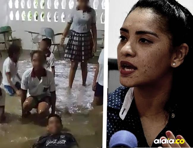 Los niños nadaron hasta en los pasillos del colegio que se inundaron. Escarlata Álvarez, secretaria de Educación en Sincelejo | Cortesía