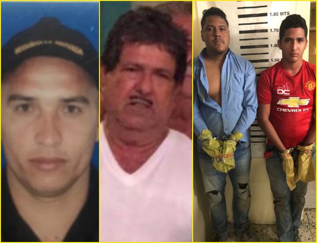 Mauricio Saúl Pacheco Suárez, vigilante capturado; Salomón Meneses Ruedas, asesinado, y John Jaynner Morales Sierra y Daniel Antonio Ariza Insignares, capturados.