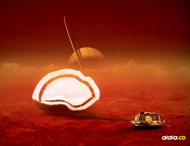 Representación de la sonda Huygens durante su llegada a Titán, en la órbita de Saturno   ESA.int