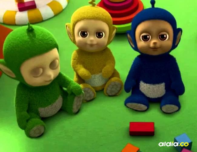 Estos son algunos Tiddlytubbies: Daa Daa (verde), Baa (azul profundo) y Umby Pumby (amarillo)   Wiki Teletubbies