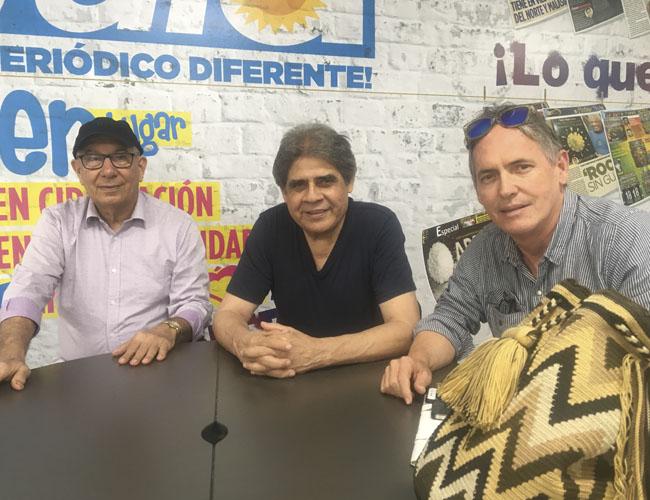 De izquierda a derecha: Antonio Daza, Ismael Rudas y Álvaro Roca, integrantes de la Fundación Dinastía Vallenata.