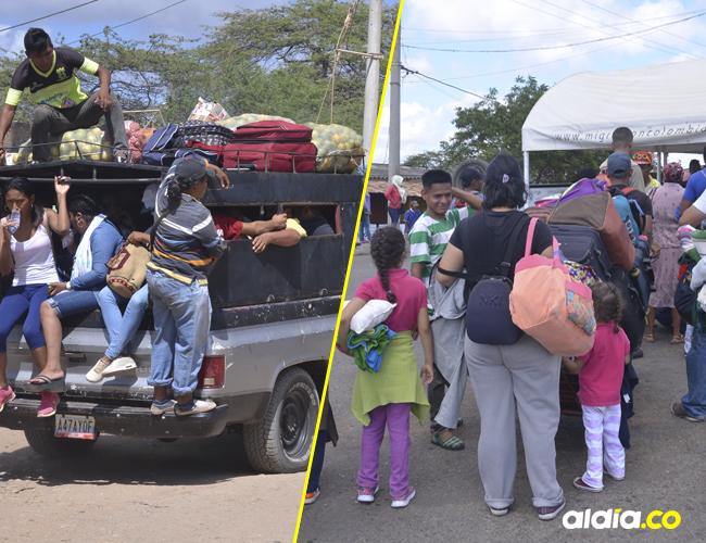 Por las trochas, en camiones, camionetas, vehiculos, motos se transportan los venezolanos por la frontera en La Guajira.