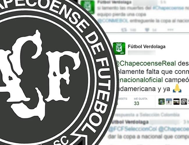 El trino de Fútbol Verdolaga hizo que muchos hinchas de su equipo repudiaran su actitud | ALDÍA.CO