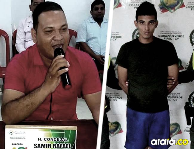El Concejal Samir Rafael López Visbal, de 33 años, en una de sus intervenciones en el recinto de la corporación edilicia y el hombre acusado de su asesinato | Cortesía