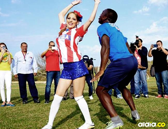 """Toloza bailó el mapalé con """"Fefi"""" Mendoza durante el entrenamiento de este martes   El Heraldo"""