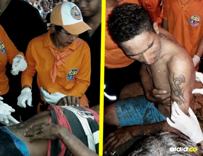 Personal de la Defensa Civil y paramédicos en plena labor de atención de los heridos en las corralejas de Sabanalarga | Cortesía