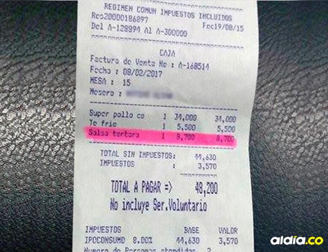 Con esta factura, el cliente denunció el cobro de la salsa tártara | El Heraldo