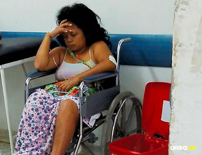 Daniris Hernández Parra, de 31 años, cuando era atendida en la emergencia del Hospital General de Barranquilla