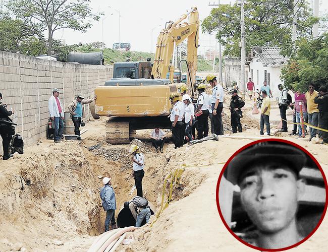 Por la tubería que se ve en la parte inferior de la foto, ingresó Dayson Hernández, de 27 años. Con el pasar de los minutos se quedó sin oxígeno y murió. | Foto: Archivo
