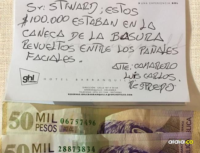 La nota que Luis Carlos Restrepo le dejó al huésped Henry Stewart en la cama del cuarto de hotel | Facebook