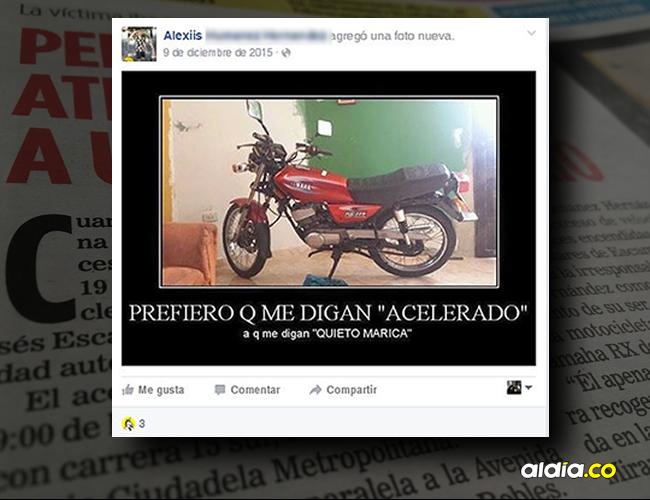 Este es el meme que tiene Alexis David Humanez Hernández en su Facebook, la moto estaría implicada en el choque. | Facebook