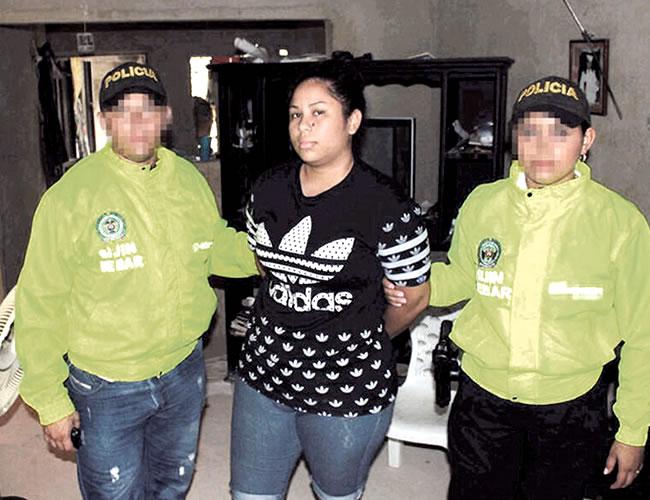 Yeslith Castilla Aguilar, alias 'la Gorda', capturada.  Fue asegurada en la cárcel de El Buen Pastor.  Edwin