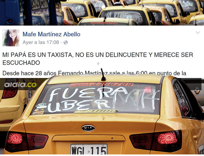 La publicación pide un trato más justo para los taxistas que hacen bien su trabajo | Foto: AL DÍA.CO