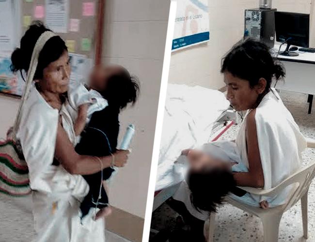 Por falta de camillas y un mayor apoyo, la indígena debe llevar en una mano el catéter y en otra al moribundo niño. | AL DÍA