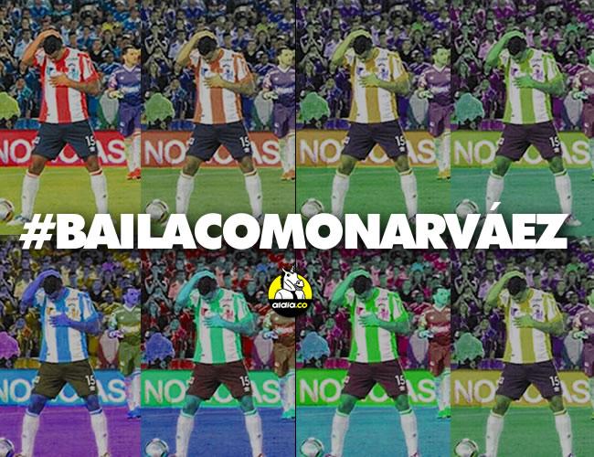 Narváez celebró bailando como al ritmo de champeta, desquitándose de aquel video que hicieron los jugadores de Millos en el 3-1 por la fecha 15 de la Liga. | ALDIA.CO