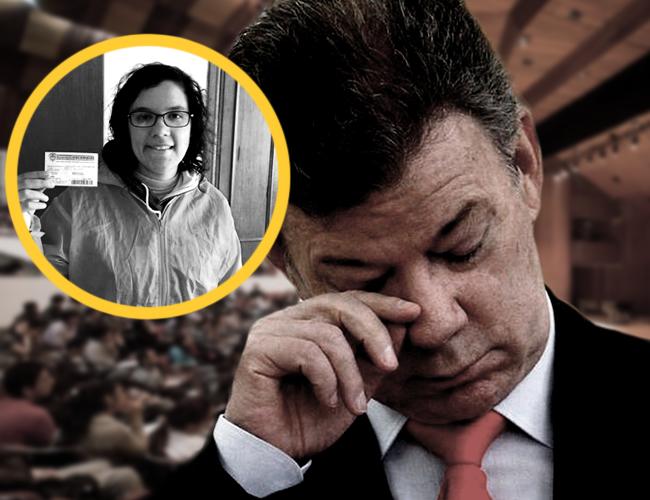 La joven se tomó el micrófono durante 10 minutos para encarar al presidente Santos por temas como Isagén, el salario mínimo y los recursos para Colciencias. | Foto: Archivo