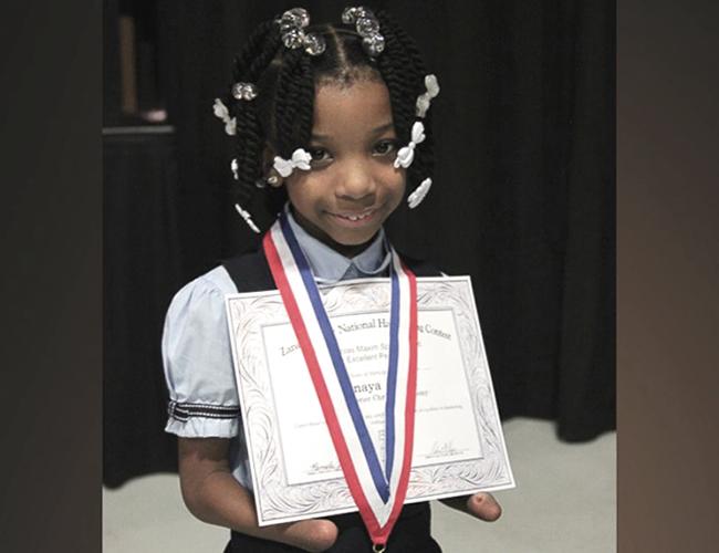 Anaya Ellink tiene 7 años y estudia está en primer grado del Greenbier Christian Academy.   Foto: ABC