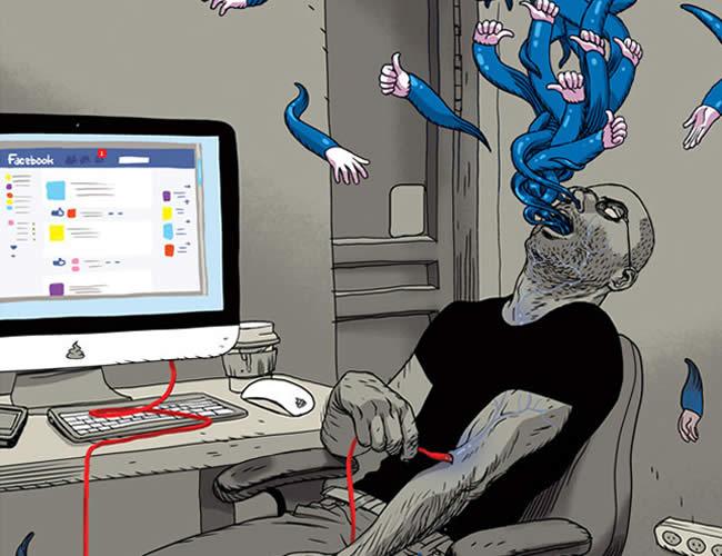 Las redes sociales se han convertido en una des las plataformas más usadas en la modernidad   Ilustración: Laughing Squid