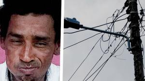 En este poste se electrocutó Edwin José, en la foto se ven las 'cabuyas' que usó para trepar.