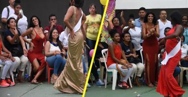 Liliana Campos, 'la Madame', fue una especie de asesora en temas de maquillaje, peinado y pasarela para sus compañeras que participaban en Reinado de la Convivencia que se llevó a cabo este viernes en la Cárcel de Mujeres de San Diego.