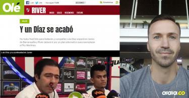 Así tituló Silvio Favale la nota que realizó para la página virtual del diario Olé tras el cierre de las negociaciones entre Junior y River por Luis Díaz.