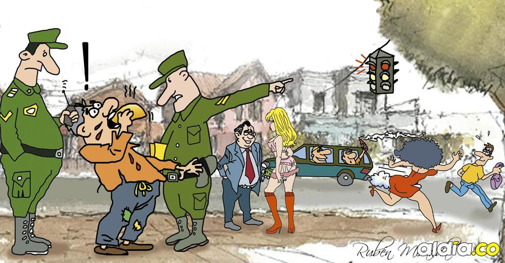 Caricatura de la infracción al momento de comer una empanada proveniente de un negocio ambulante.   Rubén Miranda