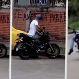 el ladrón llegó, vio la moto, se fue y tiempo después volvió y encendió la moto, usando una de las metodologías más comunes: apalancamiento | Captura de pantalla