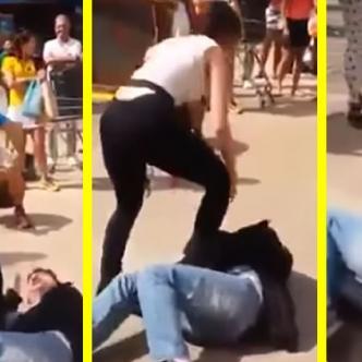 Mujer enfrentando a su presunto acosador | Captura del video de Youtube