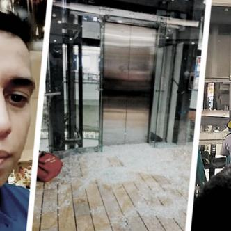 Estando atrapado en el ascensor, Alejandro Briñez emitió un video en redes sociales para pedir ayuda.