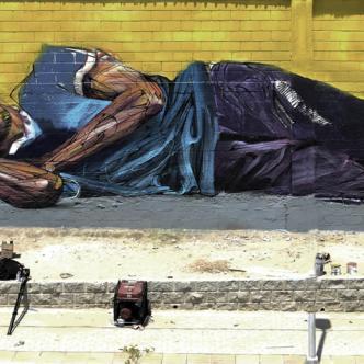 'Rami', un habitante de calle inspiro a Hopare a realizar este mural en Barrio Abajo | Josefina Villarreal