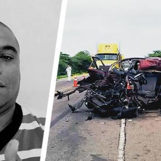 Eric Fabián Moscote Manjarrés murió en el lugar de los hechos. Él conducía la camioneta venezolana de color rojo. | ALDIA.CO