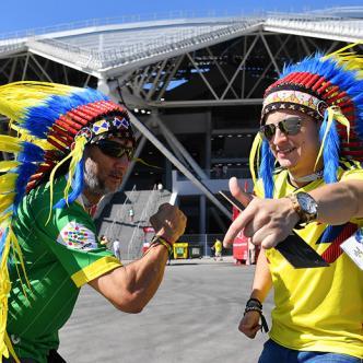 hinchas de Colombia en el estadio Cosmos Arena | AFP
