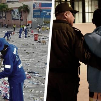 Operario de la Triple A limpiando los alrededores de la Plaza de la Paz | Cortesía